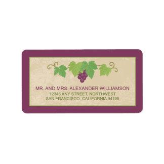 Etiqueta de dirección del viñedo (textura del