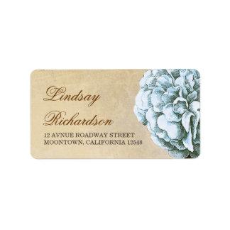 etiqueta de dirección del vintage con el flor azul