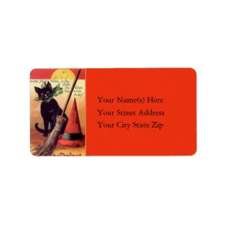 Etiqueta de dirección del vintage del gato negro y