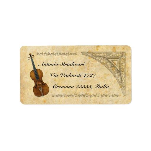 Etiqueta de dirección del violín