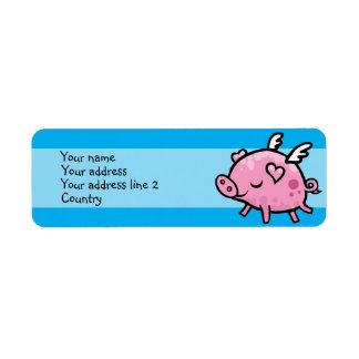 Etiqueta de dirección delgada del cerdo del vuelo