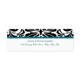 Etiqueta de dirección elegante del boda del damasc