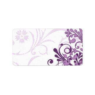Etiqueta de dirección en blanco floral abstracta d
