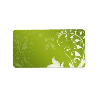 Etiqueta de dirección en blanco floral blanca verd