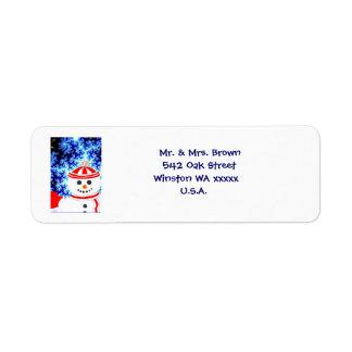 Etiqueta de dirección ESCARCHADA del muñeco de nie