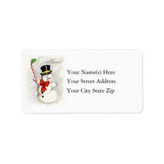 Etiqueta de dirección feliz del muñeco de nieve de