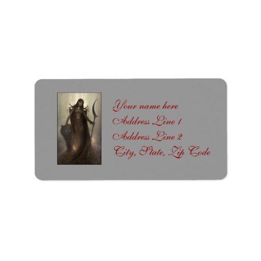 Etiqueta de dirección femenina del druida