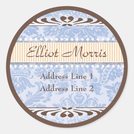 Etiqueta de dirección floral azul y anaranjada del