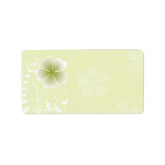Etiqueta de dirección floral blanca verde elegante
