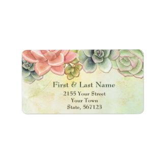 Etiqueta de dirección floral de la acuarela