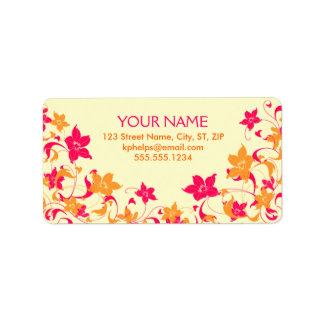 Etiqueta de dirección floral de la frontera de las