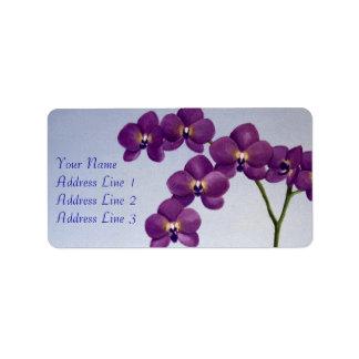 Etiqueta de dirección floral de la orquídea púrpur