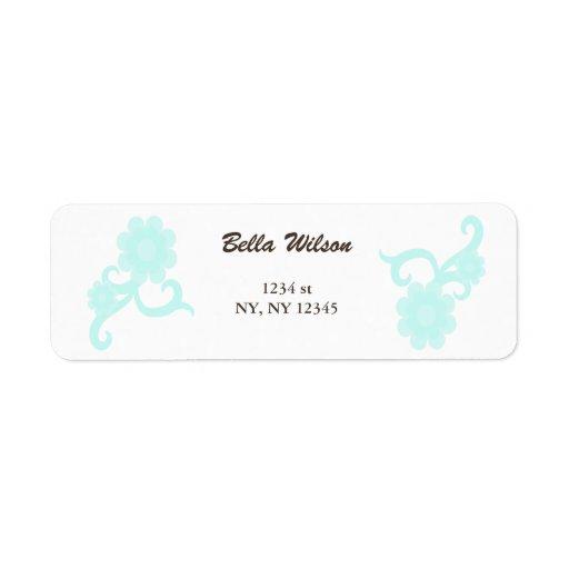 etiqueta de dirección floral de los remolinos