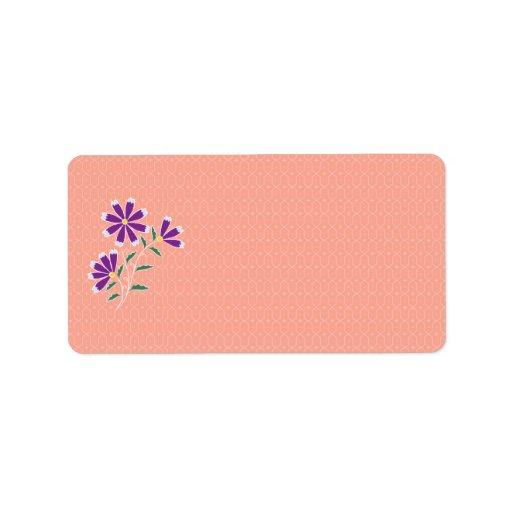 Etiqueta de dirección floral del batik de Tula
