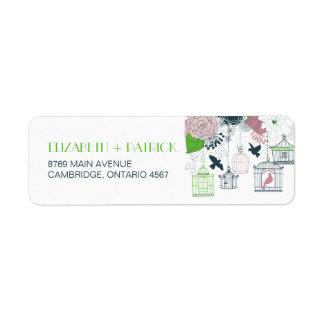 Etiqueta de dirección floral del boda de los Birdc