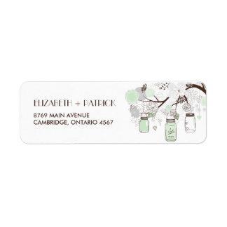 Etiqueta de dirección floral del boda de los tarro