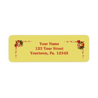 Etiqueta de dirección floral elegante