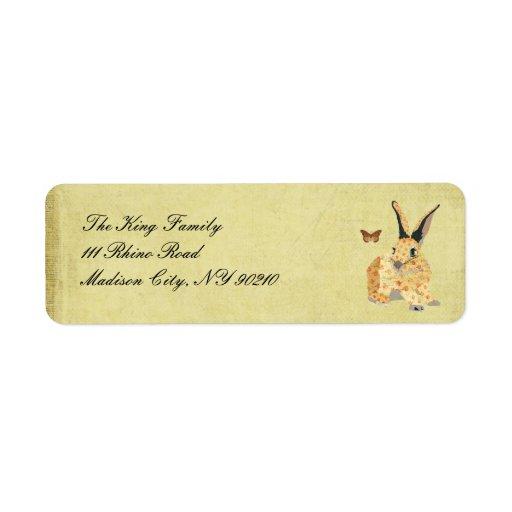 Etiqueta de dirección floral lamentable del coneji