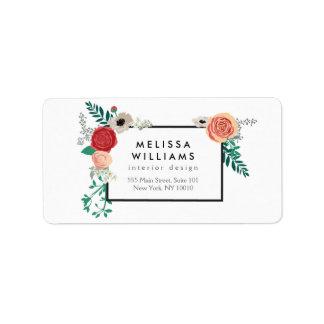 Etiqueta de dirección floral moderna del adorno