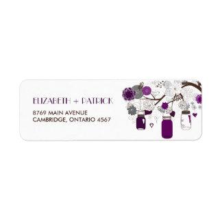 Etiqueta de dirección floral púrpura del boda de l
