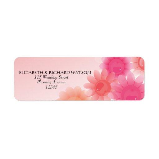 Etiqueta de dirección floral romántica del boda de