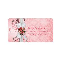 Etiqueta de dirección floral rosada elegante del