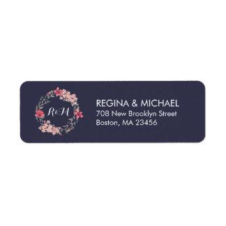 Etiqueta de dirección floral rústica azul del