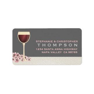 Etiqueta de dirección grande elegante del vino roj