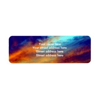 Etiqueta de dirección inspirada del cielo de la ta