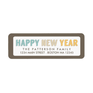 Etiqueta de dirección intrépida de la Feliz Año Nu