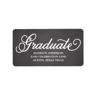 Etiqueta de dirección intrépida de la graduación d