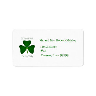 Etiqueta de dirección irlandesa de la trinidad san