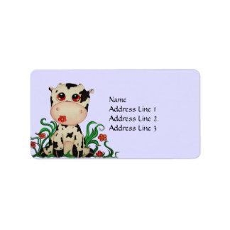 Etiqueta de dirección linda de la vaca del bebé