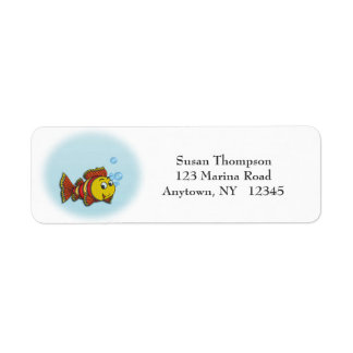 Etiqueta de dirección linda de los pescados