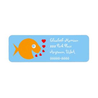 Etiqueta de dirección linda del amor del Goldfish
