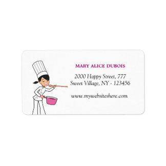 Etiqueta de dirección linda del chica del panadero