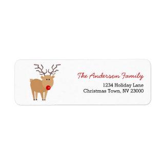 Etiqueta de dirección linda del navidad del reno