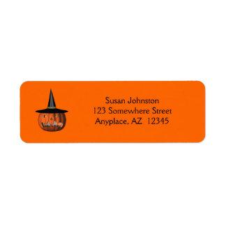 Etiqueta de dirección mala de Halloween de la lint