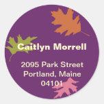 Etiqueta de dirección moderna púrpura del otoño de