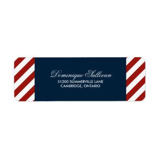 Etiqueta de dirección náutica azul y roja del boda