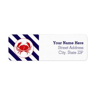 Etiqueta de dirección náutica del cumpleaños del