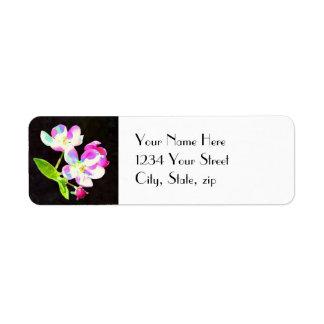 Etiqueta de dirección nupcial de los flores