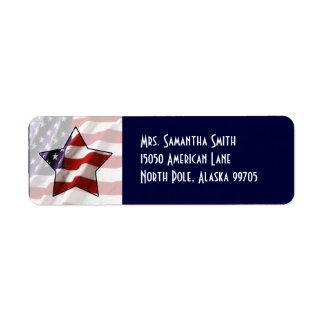 Etiqueta de dirección patriótica de la bandera de