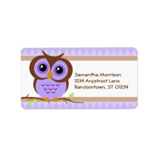 Etiqueta de dirección personal púrpura de Owly