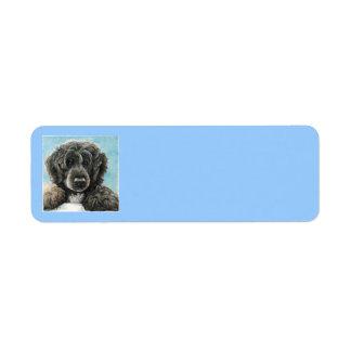Etiqueta de dirección portuguesa del perro de agua