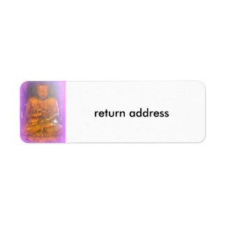 etiqueta de dirección púrpura de Buda de la
