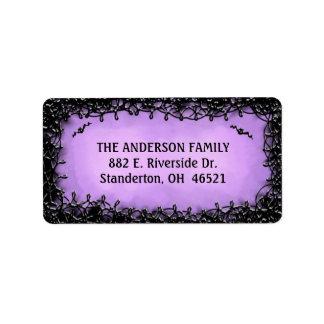 Etiqueta de dirección - púrpura de Halloween con