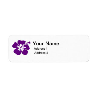 etiqueta de dirección púrpura de la flor del hibis