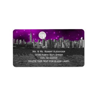 Etiqueta de dirección púrpura de la luna H de la