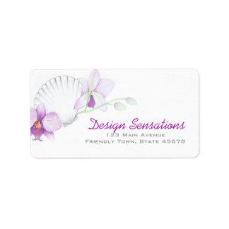Etiqueta de dirección púrpura de las orquídeas y